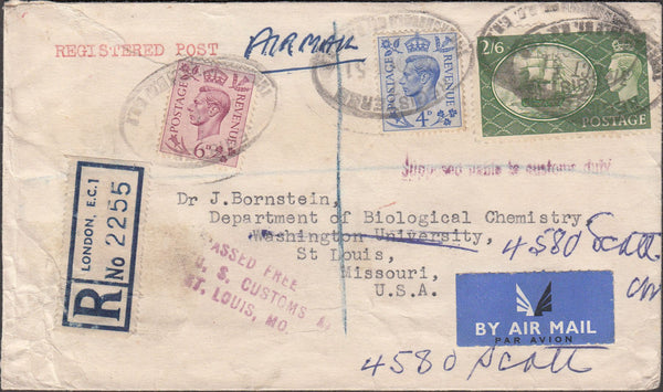 99771 - 1951 REGISTERED MAIL LONDON TO USA.