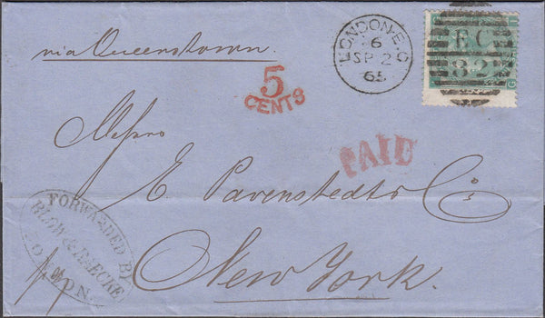 99786 - 1865 MAIL LONDON TO NEW YORK/SG101 ON COVER (CAT £425).