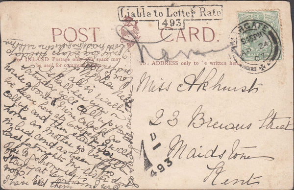 99801 - 1907 UNDERPAID MAIL.
