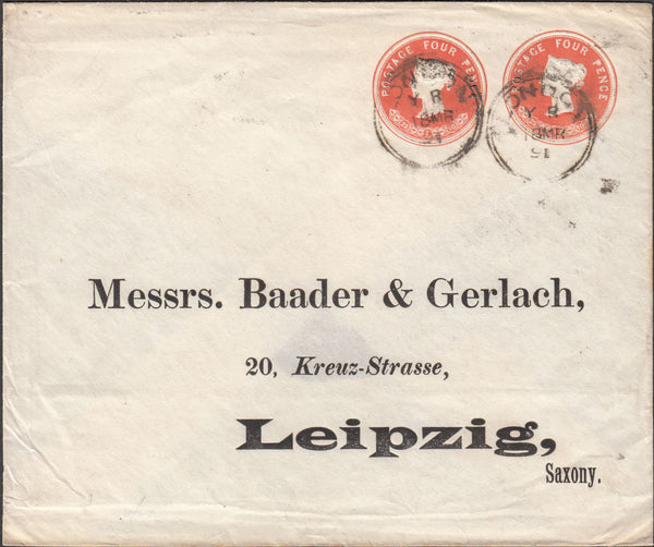 99824 - 1891 POSTAL STATIONERY LONDON TO LEIPZIG.