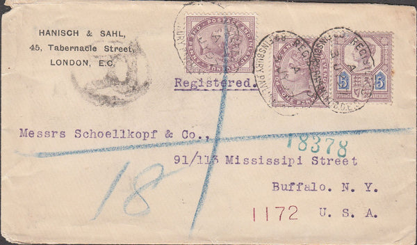 99832 - 1897 MAIL LONDON TO USA.