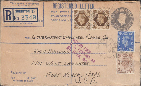 99863 - 1952 REGISTERED MAIL SURBITON TO TEXAS.