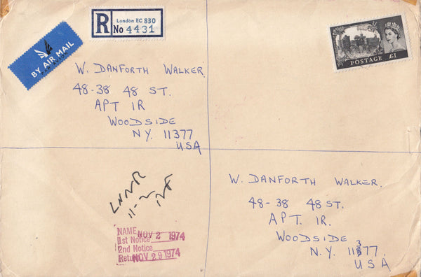 99867 - 1974 REGISTERED MAIL LONDON TO NEW YORK WITH £1 CASTLE.