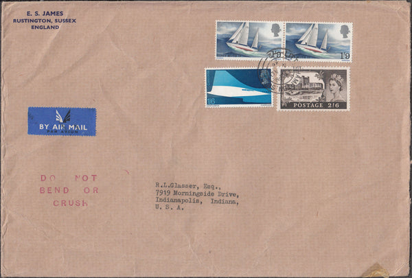 99872 - 1969 AIR MAIL UK TO USA WITH 2/6D CASTLE AND COMMEMS.