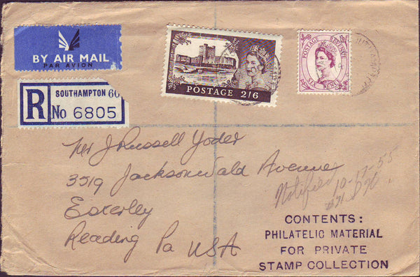 99877 - 1955 REGISTERED AIR MAIL WITH CASTLE SOUTHAMPTON TO USA.