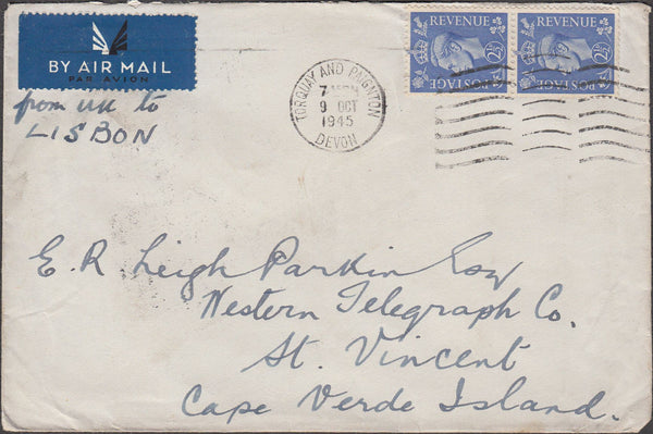 99886 - 1945 MAIL TORQUAY TO CAPE VERDE ISLAND.
