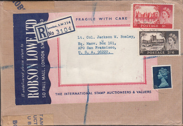 99895 - 1969 REGISTERED MAIL LONDON TO USA/CASTLE USAGE.