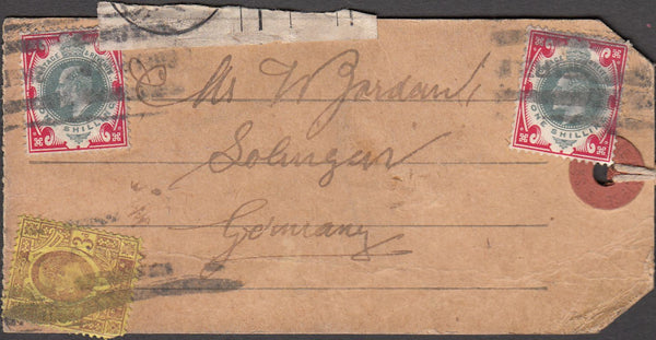 99904 - KEDVII PARCEL TAG TO GERMANY WITH 1S X 2.