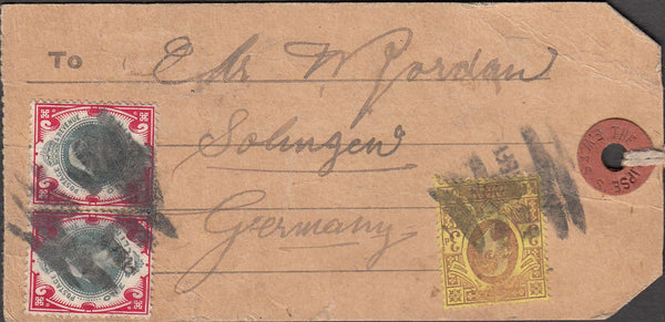 99906 - KEDVII PARCEL TAG TO GERMANY WITH 1S X 2.