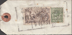 99907 - 1931 PARCEL TAG SHEFFIELD TO GERMANY WITH 2/6D SEA HORSE (SG415a).