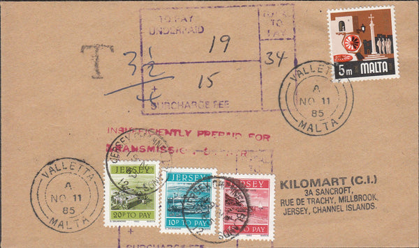 99936 - 1985 UNDERPAID MAIL MALTA TO JERSEY.