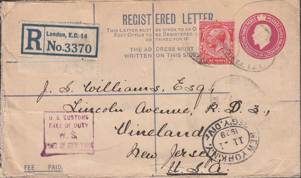 99947 - 1929 REGISTERED MAIL LONDON TO USA/STAMP DEALERS.