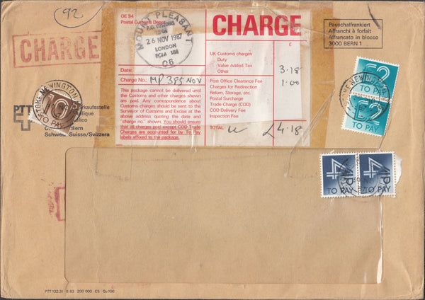 99961 - 1987 MAIL SWITZERLAND TO LONDON WITH UK POSTAGE DUES PAYING VAT.