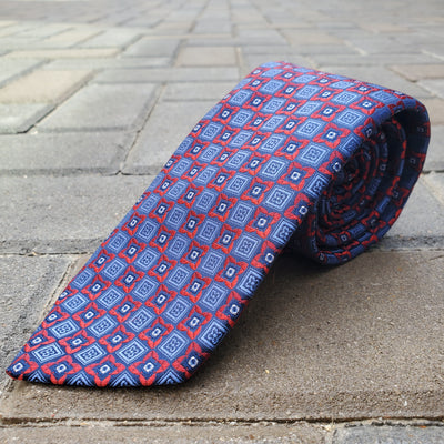 Blue With Red and Blue Floral/Box Silk - The PERSONA Store