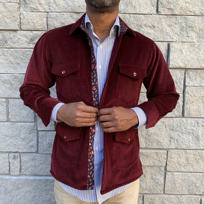 Burgundy Corduroy Shirt Jacket (Shacket) - The PERSONA Store