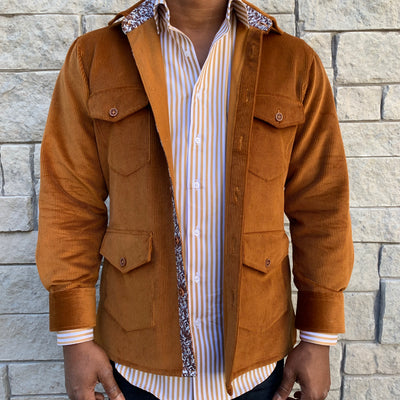 Gold Corduroy Shirt Jacket (Shacket) - The PERSONA Store