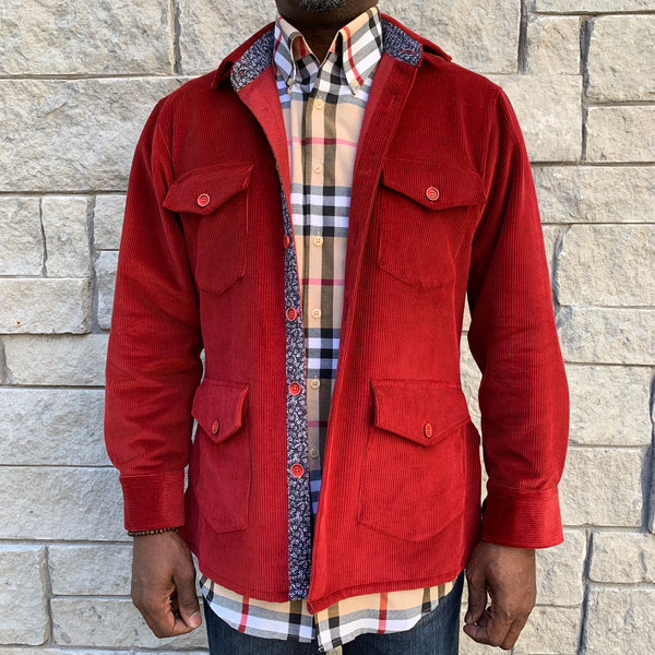 Red Corduroy Shirt Jacket (Shacket) - The PERSONA Store