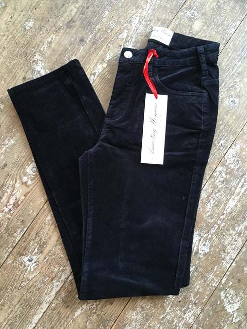 Amazing Woman Velvet Straight Leg Jeans in Navy