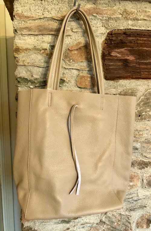 Orla Leather Bucket Tote Bag - Taupe