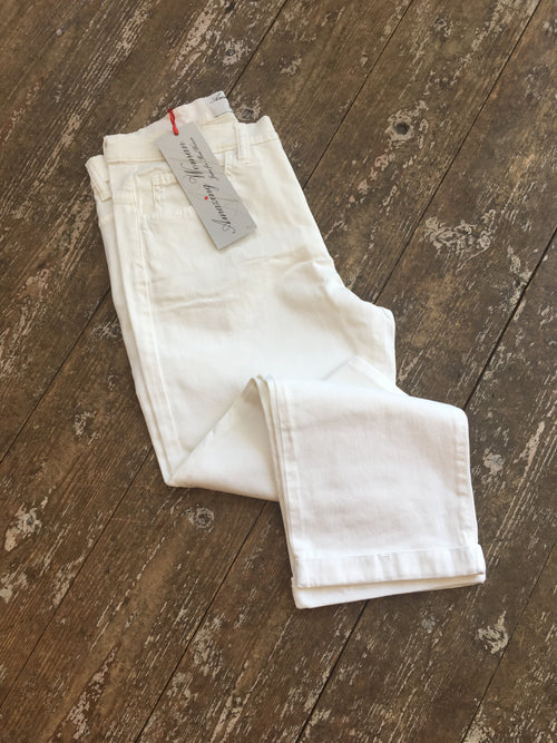 Amazing Woman 09moonlt Cropped Capri Trouser Turn Up - White