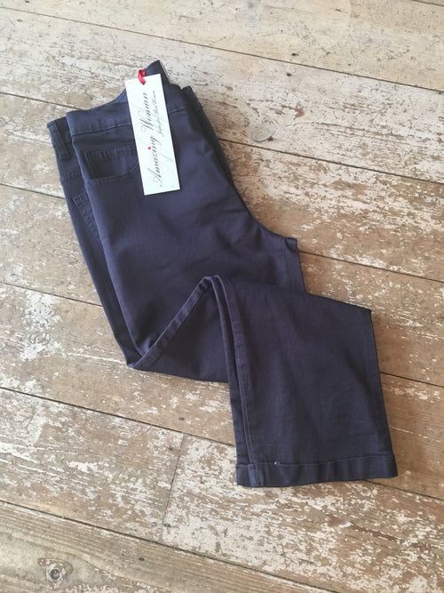 Amazing Woman 09moonlt Cropped Capri Trouser Turn Up- Navy Blue