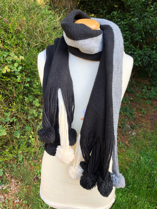 Lumi Pom Pom Scarf - Black, Cream, Grey