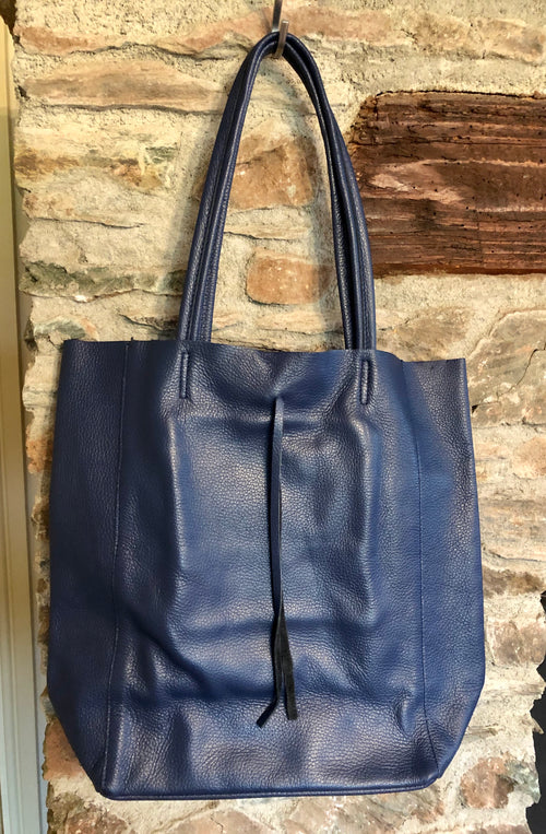 Orla Leather Bucket Tote Bag - Navy Blue