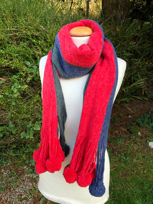 Lumi Pom Pom Scarf - Red, Blue, Grey