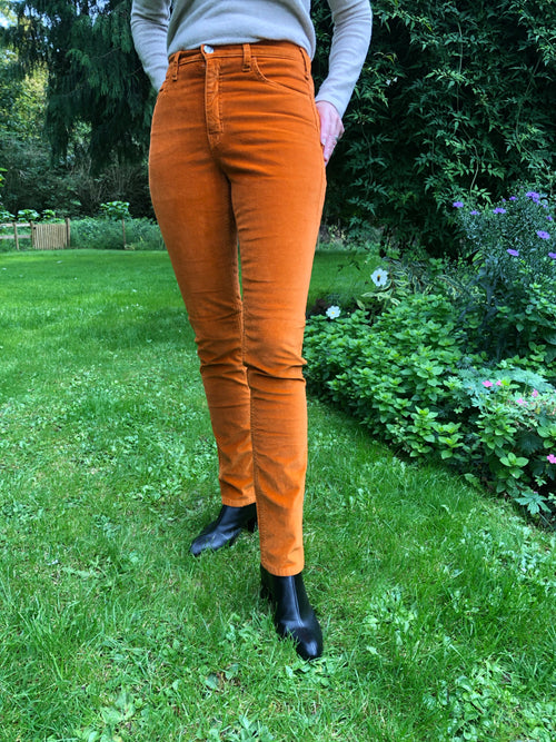 Amazing Woman Velvet Straight Leg Jeans in Orange