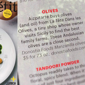 Donostia Foods Olives in Bon Appétit Magazine