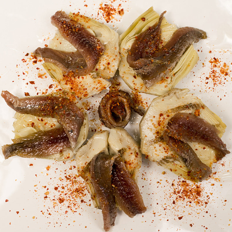 Marinated Grilled Artichokes and Cantabrian Anchovies with Piment d'Espelette