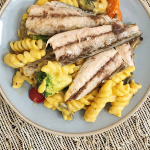 Mackerel fillets in olive oil with macaroni and cheese - Donostia Foods