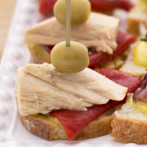 Pintxos Pronto #5: Bonito del Norte Tuna with Piquillo Peppers, Aioli, and Manzanilla Olives