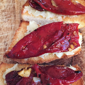 Piquillo pepeprs with roasted garlic pate