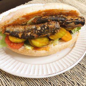 Spiced Sardines Po' Boy Sandwich