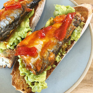 Spiced sardines - tinned fish - with avocado - Donostia Foods