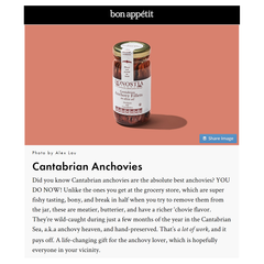 Bon Appetit - Donostia Foods Cantabrian Anchovies