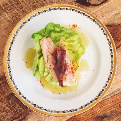 Cantabrian anchovy and Bonito del Norte tuna with piment d'Espelette atop lettuce