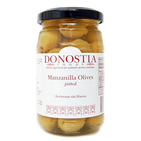 Pitted Spanish manzanilla olives - Donostia Foods.