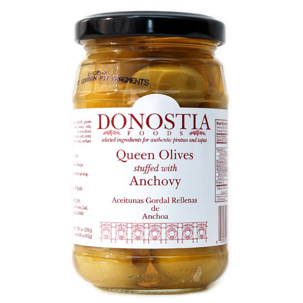 Queen Olives stuffed with Anchovy - Donostia Foods