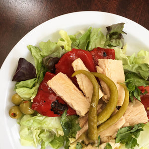 Bonito tuna salad with olives, guindilla peppers, and piquillo peppers - Donostia Foods