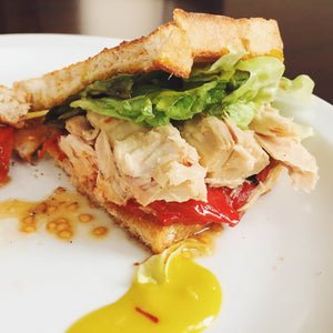 Bonito tuna sandwich with saffron aioli and piquillo peppers - Donostia Foods