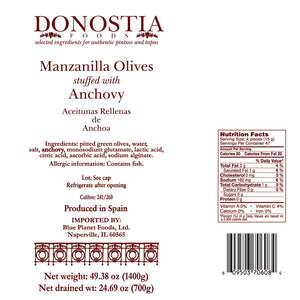 Manzanilla Olives stuffed with Anchovy - 49 oz Tin