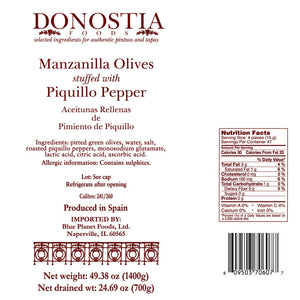 Manzanilla Olives stuffed with Piquillo Pepper - 49 oz Tin