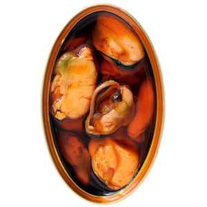 Mussels in Escabeche - Spanish tinned seafood - Donostia Foods