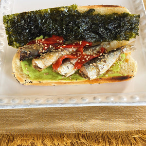 Sardinillas with piquillo pepper sandwich with wasabi mayo and seaweed