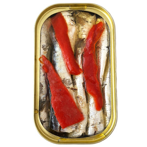 Small Sardines with Piquillo Pepper - Sardinillas - Open Tin - Donostia Foods
