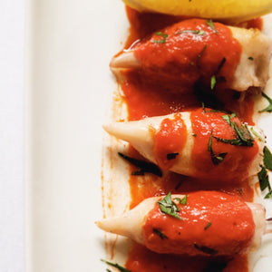 Chipirones with Piquillo Pepper Sauce - Donostia Foods