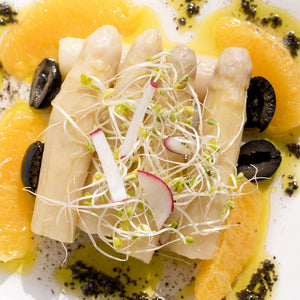 White Asparagus with Oranges and Olives