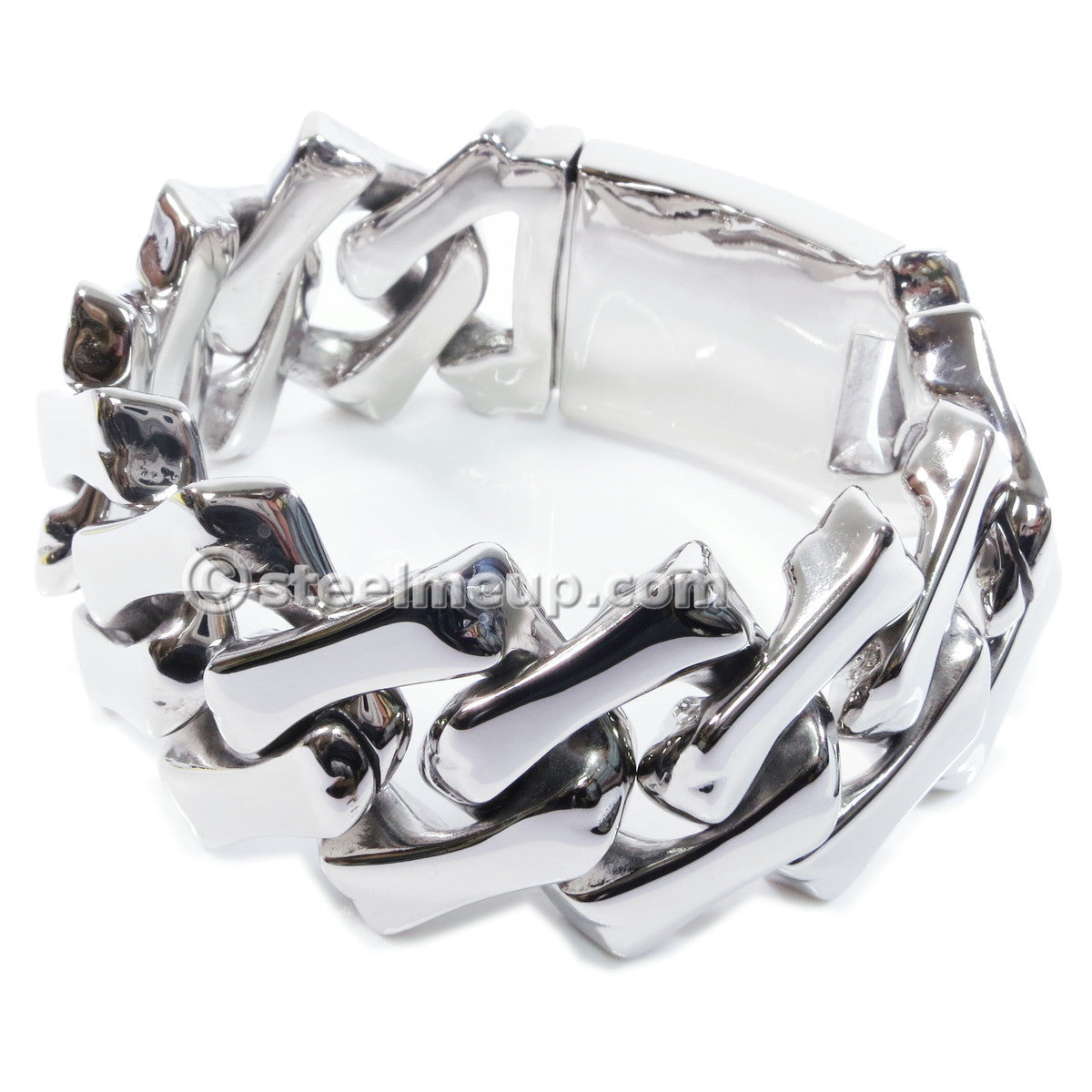 Stainless Steel Wide Square Link Chain Men Bracelet 30mm